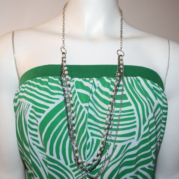 """Beautiful silver and pearl necklace 34"""""""